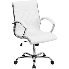 Flash Furniture Mid-Back Designer White Leather Executive Office Chair with...