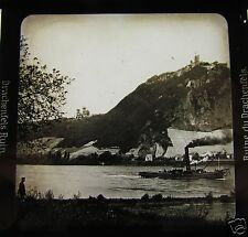 Glass Magic lantern slide DRACHENFELS RUIN  C1910 GERMANY RHINE STEAM SHIP