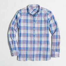 J Crew Factory - S - NWT - Blue Plaid Homespun Pop Over Tunic - Boy Shirt
