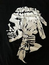 Men's Black T-Shirt - Skull Feather Headdress/Braids Graphic by Bloodbath -Size