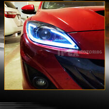 BRIGHTEST ( LED DRL Bar ) 2010-2013 Mazda 3 Mazda3 Projector Black Headlights