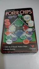 100 Cardinal 2004 Professional Poker Chips Green Blue Red White & Dealer Button