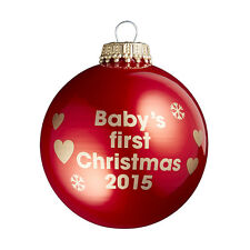 Baby's First Christmas 2015 - Red Christmas Tree Bauble - 1st Xmas Gift