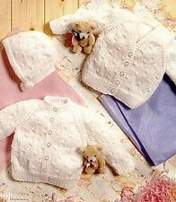 """BABY OR DOLLS CLOTHES KNITTING PATTERN 14 - 18"""" TINY CARDIGANS AND BONNET"""