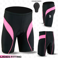 Ladies Cycling Shorts Coolmax Padding MTB Off Road Cycle Short Pink S- M- L- XL