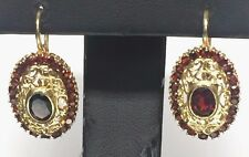 Vintage 18K Yellow Gold Oval Red Garnet - Halo - Swirl Loop Lever Back Earrings
