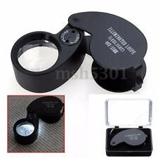 40x25mm Glass Magnifying Magnifier Jeweler Eye Jewelry Loupe Loop w/ LED Light