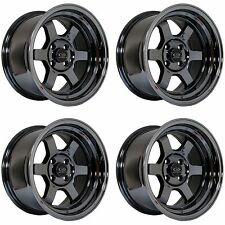 4 x Rota Grid-V Titanium Chrome Alloy Wheels 15x8"