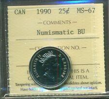 1994 Canada  Twenty Five Cent Certified ICCS MS-67 NBU