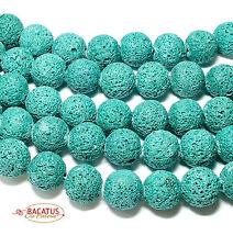 Lava Perlen grün Kugeln 18 mm, 1 Strang BACATUS #4074