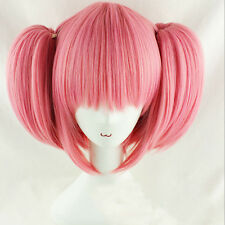 "Anime Puella Magi Madoka Magica Pink 2 Ponytail 38"" Cosplay Party  Full Wigs"