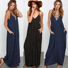 Oversized UK 8-26 Low-cut Beach Holiday Polka Dot Evening Party Long Maxi Dress