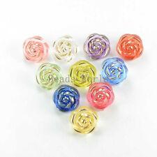 100 Random Mixed Bronzing Flower Resin Sewing Shank Buttons 12mm