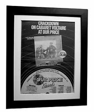 CABARET VOLTAIRE+Crackdown+POSTER+AD+RARE+ORIGINAL 1983+FRAMED+FAST+GLOBAL SHIP