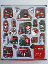 Box of 22 Christmas Wooden Tree Decorations by Premier