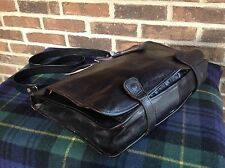 VINTAGE BLACK ITALIAN BASEBALL GLOVE LEATHER PLAID LINING BRIEFCASE BAG R$1098