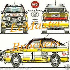 AUDI QUATTRO coupé Rallye Monte Carlo 1984 Poster voiture auto yougtimer vintage