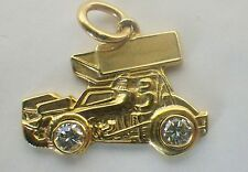 Custom 14K Open Wheel Stock Car w/Wings Racing Pendant .25 CTTW Diamonds