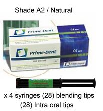 Prime-Dent Dual Cure Composite Luting Cement 4 Syringe Kit. Natural  Made in USA