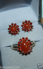 Chuck Clemency NYCII Sterling Silver Red Garnet-Carnelian Flower Earrings Ring