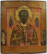 c1860 FINE ANTIQUE RUSSIAN ART ICON ORTHODOX SAINT ST MIRACLEWORKER NICHOLAS