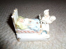 1900's Fairing German porcelain figurine married man woman bed baby his troubles