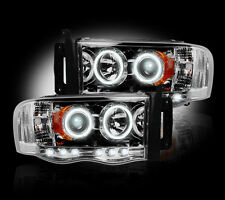 2002-2005 Dodge Ram Projector Headlights Clear Lens w/ LED Halos & DRLs - LH/RH
