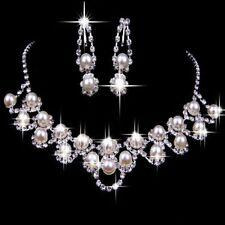 Perle Set AVORIO Matrimonio Sposa Set gioielli Collana Di Strass