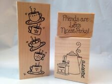 Great Impressions Friends are Life's Nicest Perks Coffee Pot Cup 3 Rubber Stamps