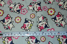Cotton Flannel Half Yard Fabric Cute Japanese Anime Kitty Cat Pink Sakura