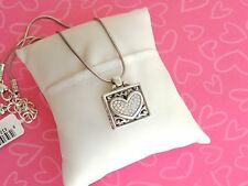 Brighton Necklace Shadow Box of Love Heart Square Silver Gold Pendant NWT 54