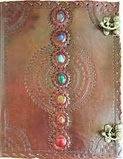"HUGE 7 Chakra Stone Leather Journal Blank Book of Shadows 10""x13"" linen pgs"