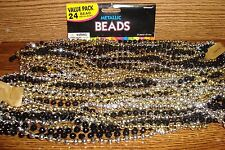 #24 Metallic Bead Necklaces  Gold,Black & Silver Mardi Gras, Party, & more * NEW