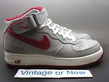 VTG Nike Air Force 1 Mid Medium Grey Varsity Red White 2003 sz 7.5
