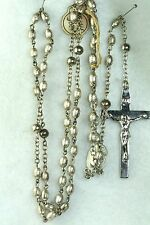 HTF VINTAGE STERLING SILVER 1960'S SACRED HEART BEADS CATAMORE ROSARY