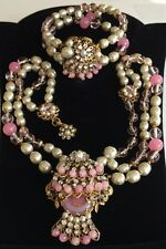 Vintage Miriam Haskell Necklace Bracelet Set~Pink Glass/Pearls/RS/Gilt Filigree
