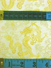 by 0.5 Yard Chinese Brocade Fabric Material Gold White Dragons