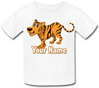 TIGER PERSONALISED CHILD'S SUBLIMATION T-SHIRT -*NAMED GIFT FOR GIRL'S & BOY'S*