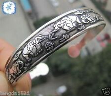 hot Wholesale New 12 style Tibetan Tibet Silver Totem Bangle Cuff Bracelet #01
