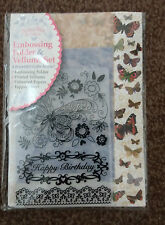 BUTTERFLIES AND LACE  EMBOSSING FOLDER AND VELLUMS  SET