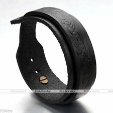 Men's Cool Punk Style Black Adjustable Genuine Leather Belt Bracelet Wristband