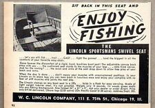 1946 Print Ad Lincoln Sportsmans Swivel Seat for Fishing Boats Chicago,IL