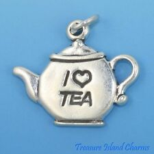 """I LOVE (HEART) TEA"" TEAPOT ~ POT .925 Solid Sterling Silver Charm"