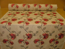 15 Metre Red Floral Linen Blend Embroidered Designer Curtain Upholstery Fabric