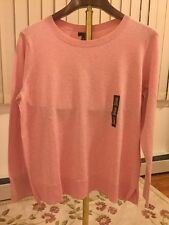 Freeshipping NWT Women Sweater Pink Solid Crew Long Sleeves  Size XXL 100%Cotton