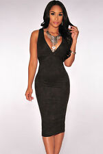 LADIES BLACK FAUX SUEDE BODYCON MIDI DRESS STRETCH WIGGLE CELEB SIZE 8 & 10
