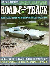 Road & Track January 1971 Chevy Vega Corvette Datsun 510 Ford Pinto Mustang