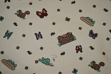 "Picnic Butterflies Bugs more Tan background Denim Fabric 45"" x 45"""
