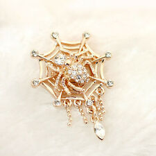 GORGEOUS 18K ROSE GOLD PLATED AND GENUINE SWAROVSKI CRYSTAL SPIDER WEB BROOCH