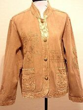 FLASHBACK Gold Embroidered Jacket Coat 2X 3X Boho 100% Cotton Ethnic Hippie